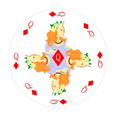Card queen of diamonds with a portrait of a woman in the round shape.