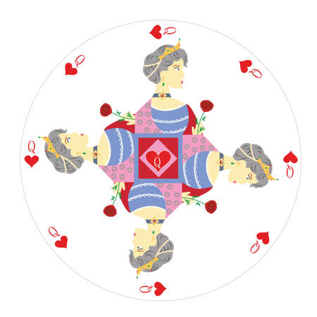 Card jack of hearts with a portrait of a man in the round shape. Illustration