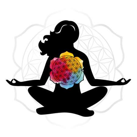 Illustration with mandala on a yoga theme.