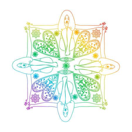 An illustration of a beautiful ladies pattern. Vektorové ilustrace