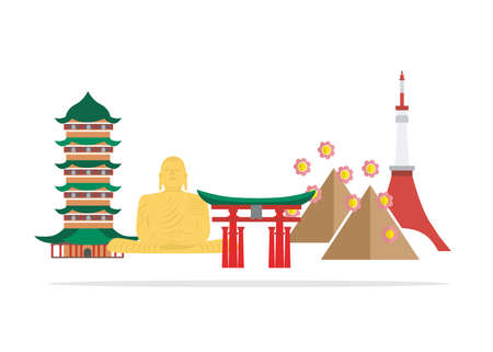 Japan country in the style of material design. Stock Illustratie