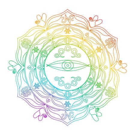 Illustration with beautiful mandala with the beautiful flower