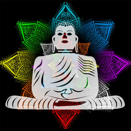 Flower and Buddha Stock Illustratie