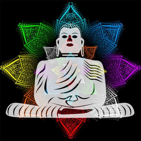 Flower and Buddha Illustration
