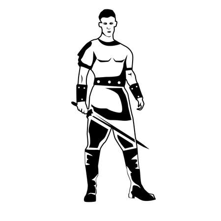 Portrait of a man in black and white color in a warrior costume.