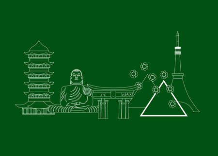 Line art of the japan