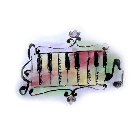 Watercolor style the music sign.