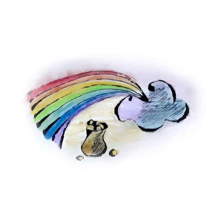 Watercolor style rainbow