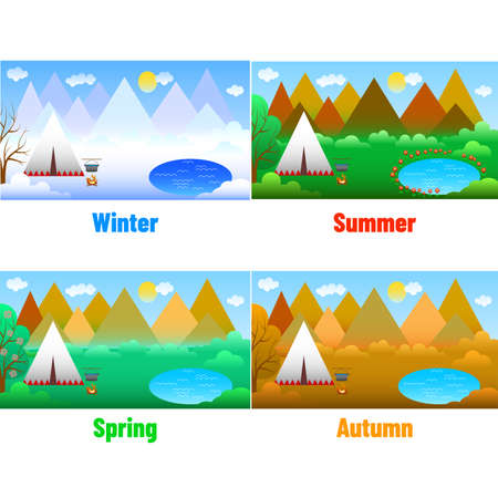 Set of bright and beautiful landscapes in the style of flat design Stock Illustratie