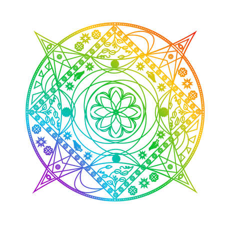 Mandala in the color of the green and pink on the theme of flower.
