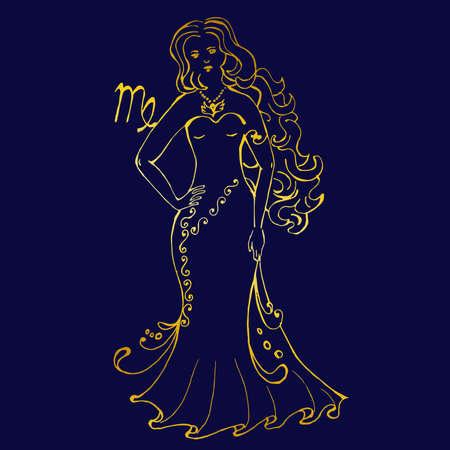 A beautiful image with the sign of the zodiac - virgo. Ilustração