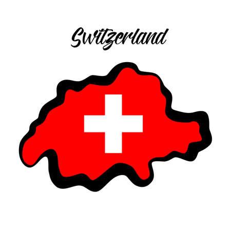 Flat design style with Switzerland map.