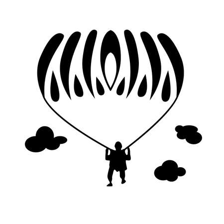 Simple illustration with the athlete skydiver