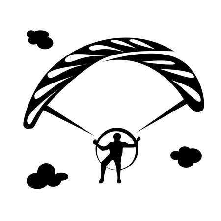 Monochrome  in black with a man athlete and a parachute Ilustração