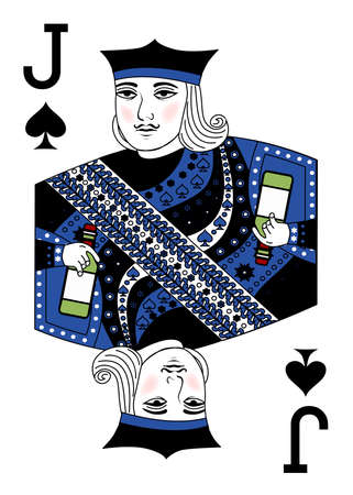 the illustration with playing card - the Jack and bottle.