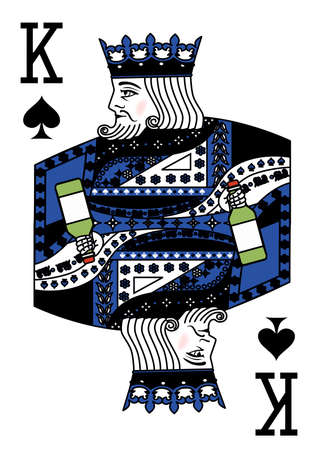 illustration on the theme of alcohol with a king and a green bottle