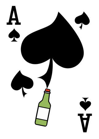 illustration on the theme of alcohol with an ace and a green bottle
