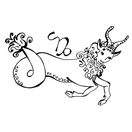 illustration - a beautiful image with the sign of the zodiac - capricorn. Stock Illustratie