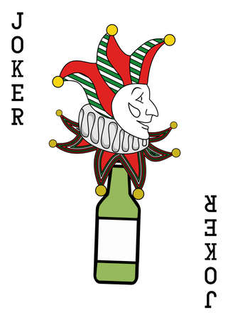 illustration on the theme of alcohol with an  Joker and a green bottle