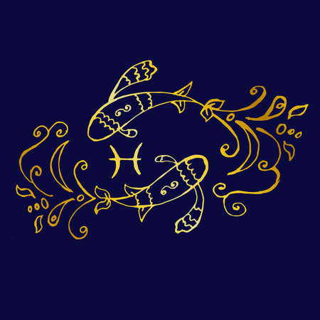 illustration - a beautiful image with the sign of the zodiac - Pisces.