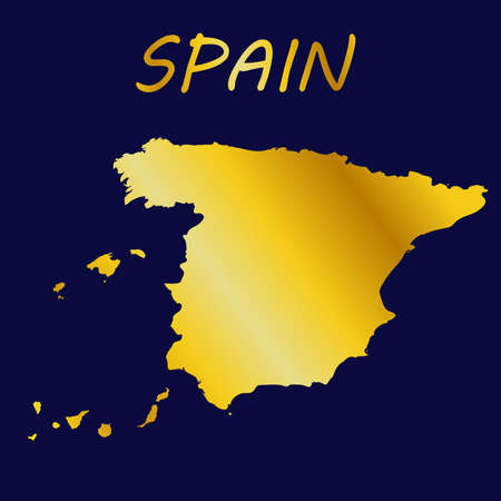 illustration on the theme of geography and cartography with a map of Spain.