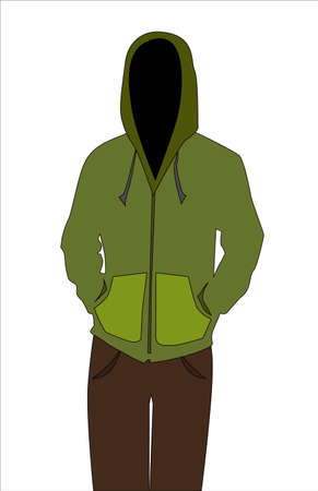 The illustration of a man wearing a hoodie. Stock Illustratie