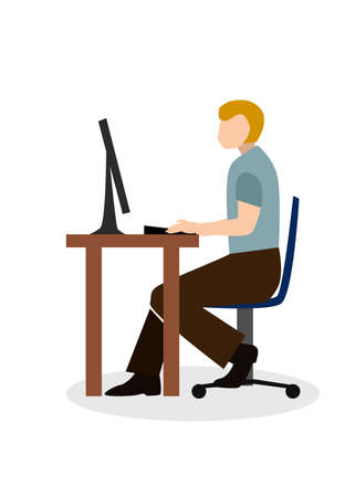Flat design style with a portrait of men