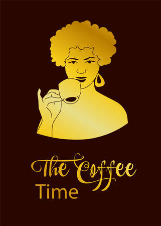 Portrait  of a woman with coffee Ilustrace