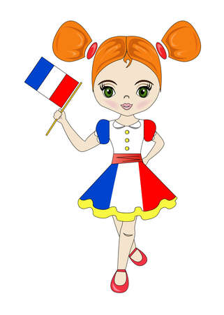 Portrait of a beautiful and lovely girl from the French Republic.
