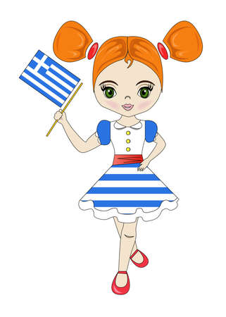 Beautiful girl and the flag of the country of Greece