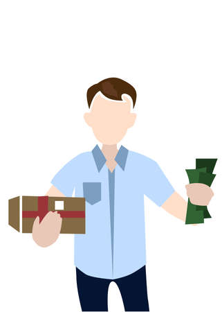 illustration - portrait of a courier man in material design style.