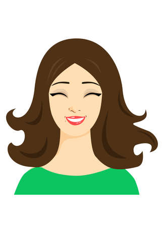 Face of a beautiful young woman who is laughing in material design style.