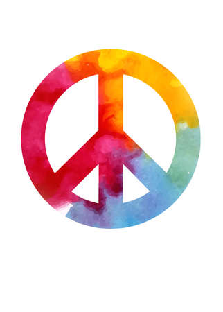 Peace Sign in the color and style of the watercolor.
