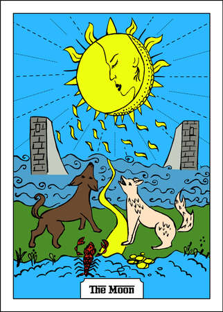 Beautiful illustration with girl - card for tarot - the moon.