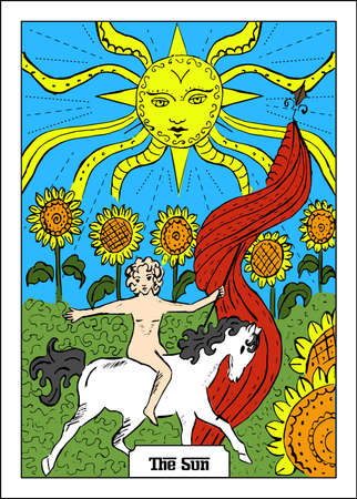 Beautiful illustration with girl - card for tarot - the Sun.