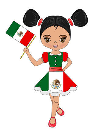 illustration - portrait of a beautiful and lovely girl from the Mexico.