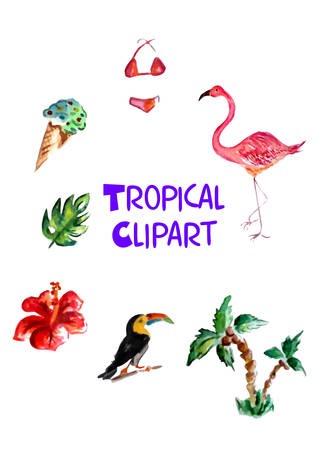 The beautiful and colorful tropical travel clipart.