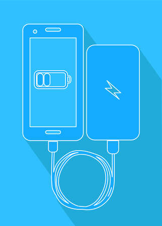 Illustration in the style of material design on the theme of powerbank and gadget.
