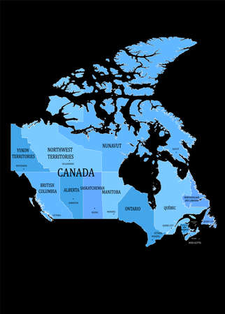 illustration on the theme of geography and cartography with a map of Canada.