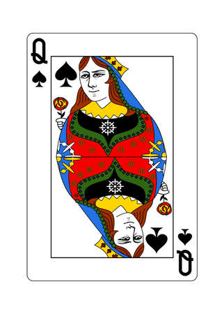 The queen of Spades in the classic style.