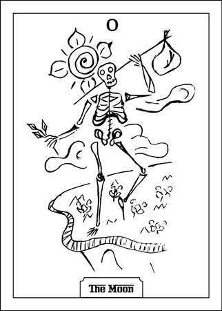 Beautiful illustration with man - card for tarot - the Fool.