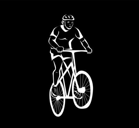 illustration in black and white with a man and a bicycle.