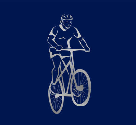 Illustration in black and white with a man and a bicycle. 일러스트