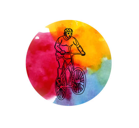 illustration in watercolor style with a man and a bicycle.