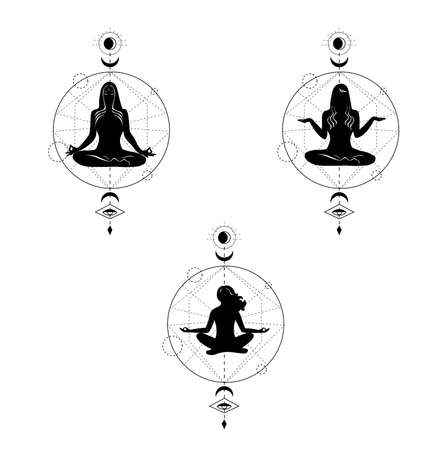 the illustration on the theme of the meditation. Ilustración de vector