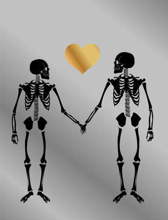 illustration with two skeletons in love on the theme of love and relationships.
