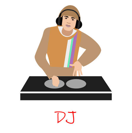 illustration with a DJ Man in modern style