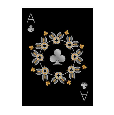 the illustration with Ace of Clubs - with black background and design with weapon.