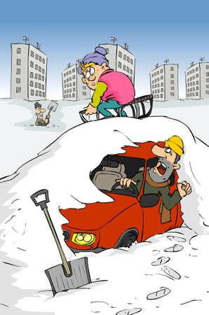 Car under the snow Illustration