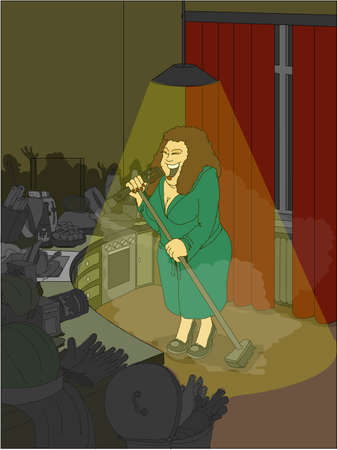 lady with the lamp: Woman in the kitchen singing imaginary audience Illustration